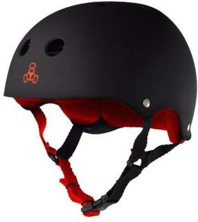 Brand New Triple Eight (Triple 8) Helmet with Sweatsaver Liner, Black Rubber/Red, Small (52-54cm) for e-scooter, skateboarding, or skating