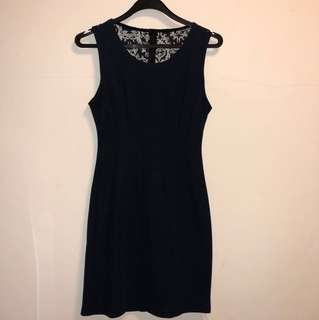 Navy Blue Dress with Lace Backing