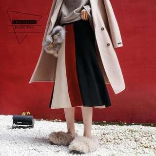 【H.BANDWAGON】時髦三色拼接直條壓紋包芯紗A字鬆緊腰針織長裙 半身裙(預購)