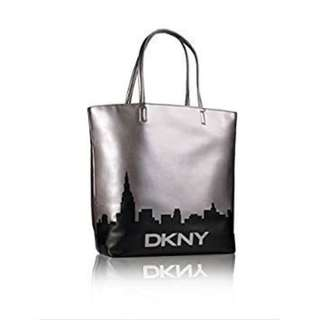 REPRICED: DKNY Silver Tote Bag with New York Skyline