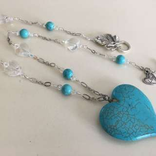 Uniquely Handcrafted Dyed Howlite Heart Necklace
