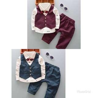 [現貨+預購]- 男童套裝2017年春秋裝運動寶寶韓版童裝春裝1-2-3-4-5歲兒童三件套
