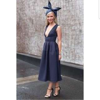 BNWT Nicholas Navy Ponti Deep V Ball Dress Size 6