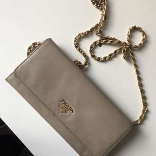 Prada Saffiano Wallet on a chain