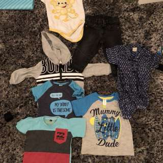 Size 0 baby boy clothes and size 2 pumpkin patch boots