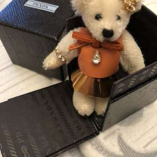 Authentic Prada teddy bear key chain/ bag charm