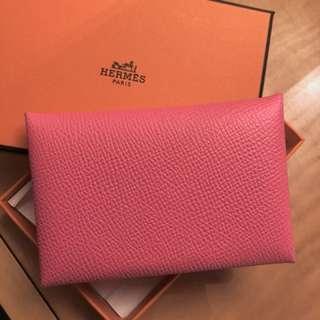 Hermes calvi 8w rose azalee card holder