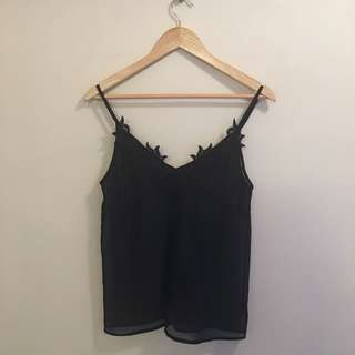 Bardot sheer black cami top