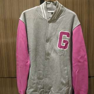Jaket Varsity Abu lengan pink Girls Generation I Got a Boy