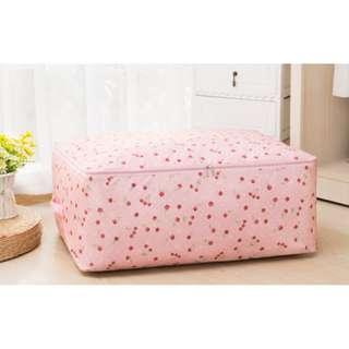 (全新) 可愛 粉紅色 車厘子圖案 牛津布 防水 防塵 收納袋 被袋 整理袋 < 大size >