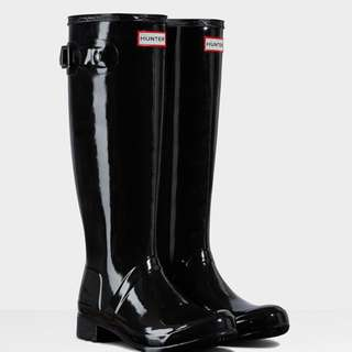Hunter Original Gloss Black Rain Boots (Sz 6)