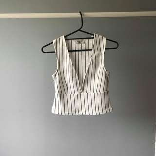 Temt - Stripey V Neck Peplum Top (Black And White - Size S)