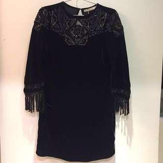 100%全新NEW ZARA 高貴黑色絲絨珠片配飾流蘇手袖連身裙 Elegant black velvet tassels one piece dress