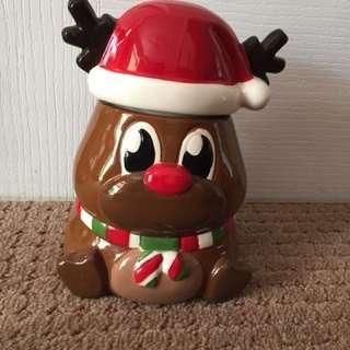 Ceramic Reindeer Cookie Jar