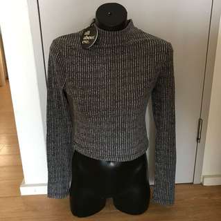 BNWT All about eve crop top high neck long sleeve grey ribbed