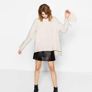 Zara cream white sweater with tied sleeve