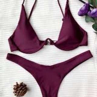 Zaful Merlot Bikini Top