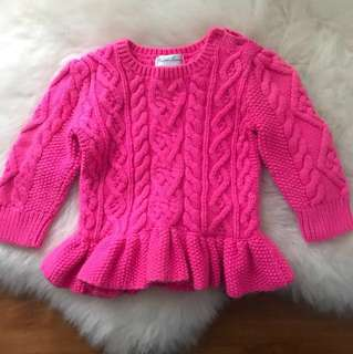 Ralph Lauren Baby Cable Knit Pink Sweater