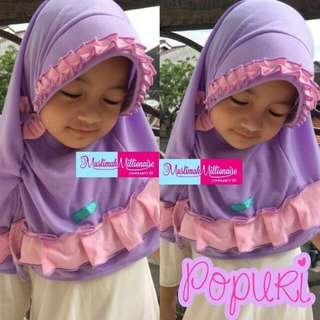 Hijab bergo anak Popuri bahan kaos