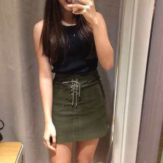 Army Green Shoelace Skirt