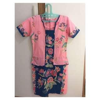 Batik dress (pink and blue)