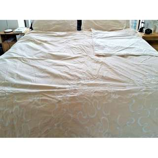 Beige Embroidered Queen Size Doona Cover + 2 Pillow Cases