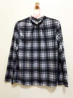 Checkered long-sleeve blouse