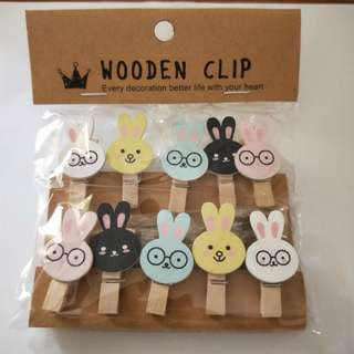 Cute Bunny Wooden Clips