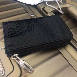 Furla coins bag key ring black crocodile print