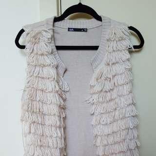 Dotti wool detail sleeveless cardigan