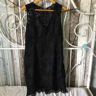 Bardot Black Lace up V neck Dress size 12
