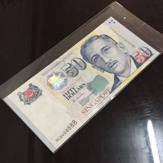 😄 Portrait Series $50 Note with Auspicious Serial Number OLQ 608888 in Brand New Mint Uncirculated Condition