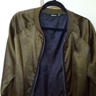 Boohoo silk khaki bomber jacket