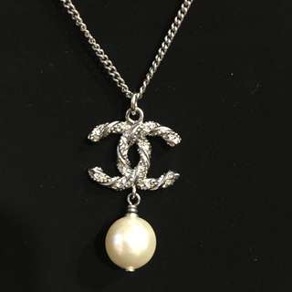 Chanel Silver Necklace with Pearl