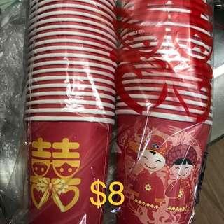 婚禮物資~囍字杯(60隻)