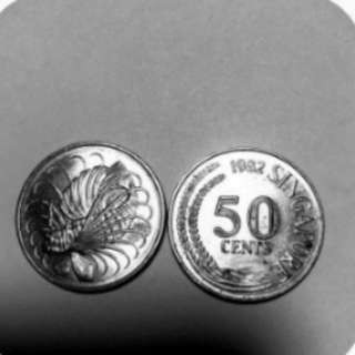 5 Old Singapore 50 cents coins
