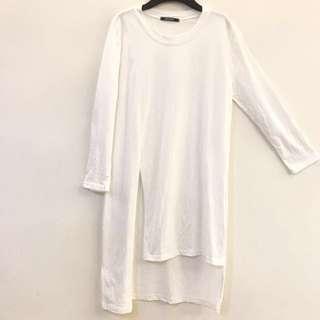 白色 八九分袖 長版上衣