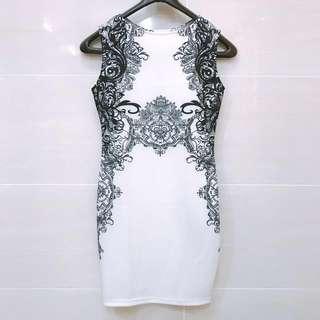 Vintage Print Bodycon Dress