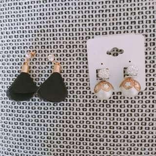 Black Tassel Earrings and Pearl Earrings Set