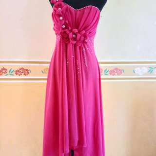 One Shoulder Pink Gown