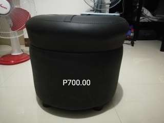 Black Leather Soft Stool