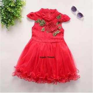Baby Clothing Girls Clothing Dress Tutu Dress Rose CNY Princess Dress (0-2 Year)