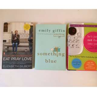 EAT PRAY LOVE, Something Blue, He's Just Not That Into You - RETAIL: $60+
