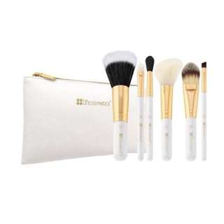 BH Cosmetics Bright White - 6 Piece Brush Set with Cosmetic Bag