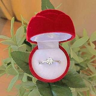 Elegant Sterling Silver Crystal Ring