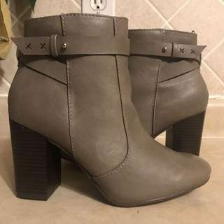 Grey Block Heel Booties