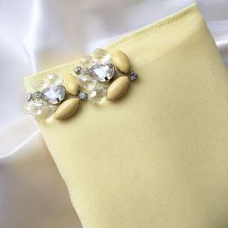 Fleurmalaysia Yellow chiffon with diamonds
