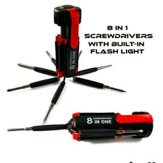8 in 1 screwdriver with flashlight