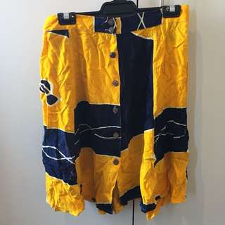 Vintage Yellow/Navy Patterned Skirt