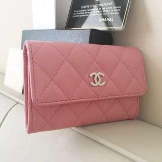 真品 Chanel 粉紅羊皮 銀logo 小銀包 散紙包 card holder wallet